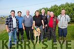 L-r  Tom O'Connor, Darragh Houlihan, Dan Sullivan, Dan Nelligan with Cash Call, Pat Flaherty, Mike O'Shea, Mick Sugrue and James Hanlon at the Ballyheigue Coursing on Sunday