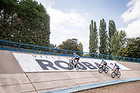 arriving at the Roubaix velodrome<br /> <br /> reconnaissance of the (delayed, due to the Covid19 pandemic) Paris-Roubaix course by Team Israel - StartUp Nation <br /> <br /> Nord-Pas de Calais region (FRA), 17 july 2020<br /> ©kramon