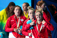Picture by Alex Whitehead/SWpix.com - 07/04/2018 - Commonwealth Games - Swimming - Optus Aquatics Centre, Gold Coast, Australia - Eleanor Faulkner, Holly Hibbott, Freya Anderson and Siobhan Marie-O'Connor of England win Bronze in the Women's 4x200m Freestyle Relay final.