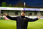 Kevin Wilkin Manager of Brackley Town responds to taunts from Blyth fans, after Brackley were denied a penalty. Blyth Spartans v Brackley Town, 30112019. Croft Park, National League North. Photo by Paul Thompson.