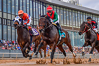 HOT SPRINGS, AR - FEBRUARY 19: Futile with jockey Luis Contreras (left) and Rocking The Boat with jockey Femando De La Cruz (center)  in the Razorback Handicap at Oaklawn Park on February 19, 2018 in Hot Springs, Arkansas. (Photo by Ted McClenning/Eclipse Sportswire/Getty Images)
