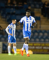 George Elokobi of Colchester United celebrates his goal during the Sky Bet League 2 match between Colchester United and Wycombe Wanderers at the Weston Homes Community Stadium, Colchester, England on 21 February 2017. Photo by Andy Rowland / PRiME Media Images.
