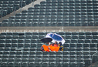 April 12, 2009: Fans endured temperatures  in the low 40s and persistent rain during a game between the Philadelphia Phillies and the Colorado Rockies at Coors Field in Denver, Colorado. The Phillies beat the Rockies 7-5.