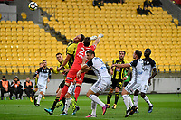 Wellington Phoenix' Dylan Fox and Melbourne Victory&rsquo;s Lawrence Thomas in action during the A League - Wellington Phoenix v Melbourne Victory FC at Westpac Stadium, Wellington, New Zealand on Wednesday 10 January 2018. <br /> Photo by Masanori Udagawa. <br /> www.photowellington.photoshelter.com