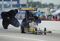 Apr. 29, 2012; Baytown, TX, USA: NHRA top fuel dragster driver Morgan Lucas during the Spring Nationals at Royal Purple Raceway. Mandatory Credit: Mark J. Rebilas-