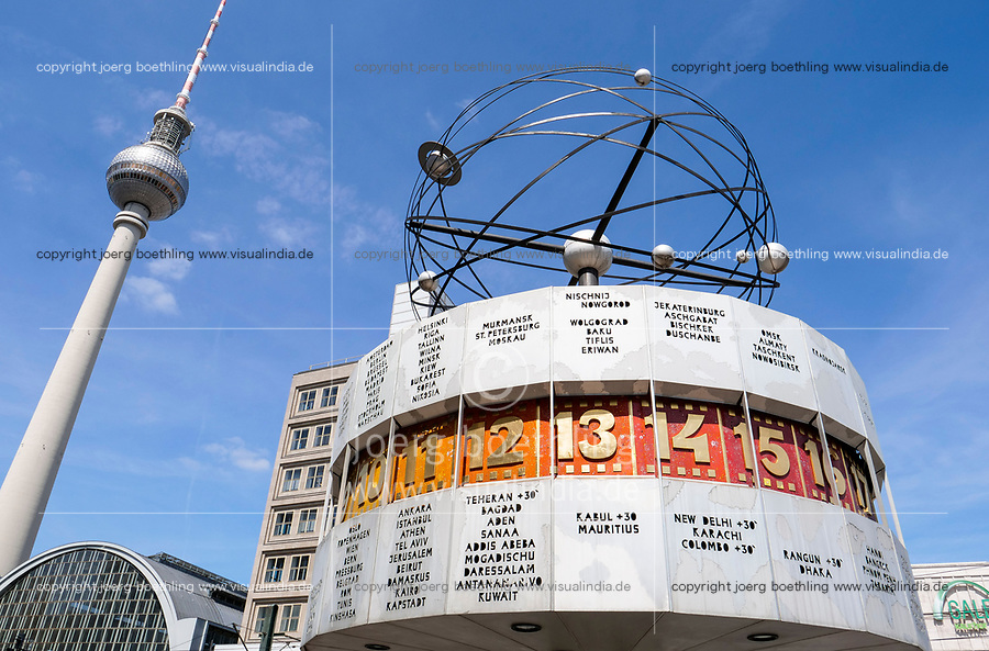 GERMANY, East-berlin, Alexanderplatz public square, world clock designed by Designer Erich John, built 1969, also known as the Urania World Clock  is a large turret-style clock showing different time of time zones in different cities worldwide