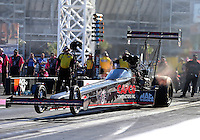 Oct 30, 2015; Las Vegas, NV, USA; NHRA top fuel driver Steve Torrence during qualifying for the Toyota Nationals at The Strip at Las Vegas Motor Speedway. Mandatory Credit: Mark J. Rebilas-USA TODAY Sports