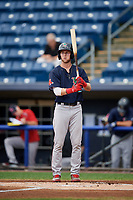 Lowell Spinners center fielder Cole Brannen (18) at bat during a game against the Staten Island Yankees on August 22, 2018 at Richmond County Bank Ballpark in Staten Island, New York.  Staten Island defeated Lowell 10-4.  (Mike Janes/Four Seam Images)