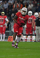 RB Christopher McClendon (Braunschweig Lions) fängt frn Ball - 12.10.2019: German Bowl XLI Braunschweig Lions vs. Schwäbisch Hall Unicorns, Commerzbank Arena Frankfurt