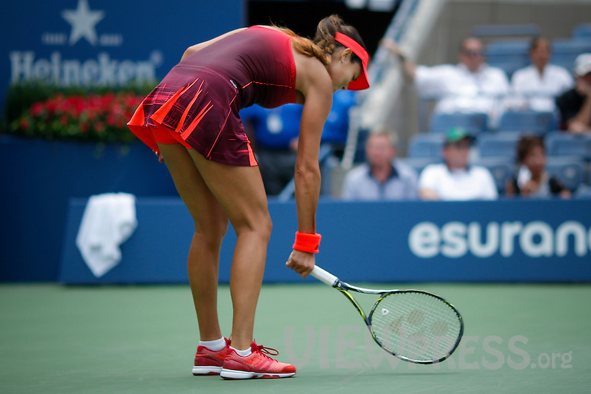 Ana Ivanovic Of Serbian Smash Her Racket After Losing A Point At The Third Set Against