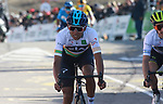 Egan Bernal (COL) Team Sky and Adam Yates (GBR) Mitchelton-Scott cross the finish line at the end of Stage 4 of the Volta Ciclista a Catalunya 2019 running 150.3km from Llanars (Vall De Camprodon) to La Molina (Alp), Spain. 28th March 2019.<br /> Picture: Colin Flockton | Cyclefile<br /> <br /> <br /> All photos usage must carry mandatory copyright credit (© Cyclefile | Colin Flockton)