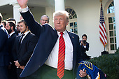 United States President Donald J. Trump departs the event where he honored the St. Louis Blues, the 2019 Stanley Cup Champions, at the White House in Washington D.C., U.S. on Tuesday, October 15, 2019.<br /> <br /> Credit: Stefani Reynolds / CNP