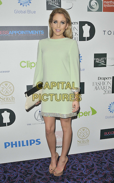 Lydia Rose Bright.Drapers Fashion Awards 2011, Grosvenor House hotel, Park Lane, London, England, Wed/16th/Nov/2011..November 16th, 2011.full length green dress tunic silver trim beige clutch bag.CAP/CAN.©Can Nguyen/Capital Pictures.