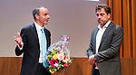 UTRECHT _ Algemene Ledenvergadering Utrecht, van de KNHB.  KNHB voorzitter Erik Cornelissen (l) met Jeroen Bijl (NOC)   COPYRIGHT KOEN SUYK
