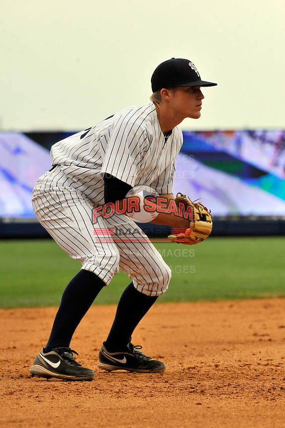 Staten Island Yankees third baseman Zach Wilson #47 during a game against the Tri-City  Valley Cats at Richmond County Bank Ballpark at St. George on July 25, 2011 in Staten Island, NY.  Staten Island defeated Tri-City 2-1.  Tomasso DeRosa/Four Seam Images