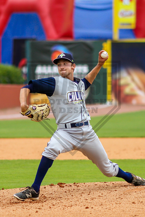 Columbia Fireflies pitcher Jake Simon (27) during a South Atlantic League game against the Lexington Legends on May 28, 2017 at Whitaker Bank Ballpark in Lexington, Kentucky.  Columbia defeated Lexington 3-0. (Brad Krause/Krause Sports Photography)
