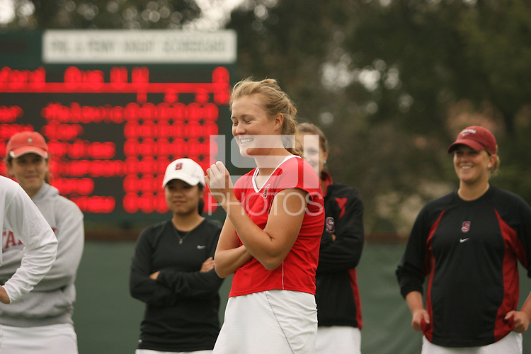 9 April 2007: Theresa Logar during Senior Day ceremonies during Stanford's 6-1 win over Washington at the Taube Family Tennis Stadium in Stanford, CA. Celia Durkin, Jessica Nguyen, Lejla Hodzic and Whitney Deason are in the background.