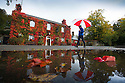 16/10/16 <br /> <br /> After heavy overnight rain, stunning autumnal colours on a Boston Ivy Vine (or Japanese Creeper) are reflected in puddles outside the The Old Eyre Arms in Hassop, near Bakewell in the Derbyshire Peak District. <br /> <br /> All Rights Reserved: F Stop Press Ltd. +44(0)1773 550665   www.fstoppress.com