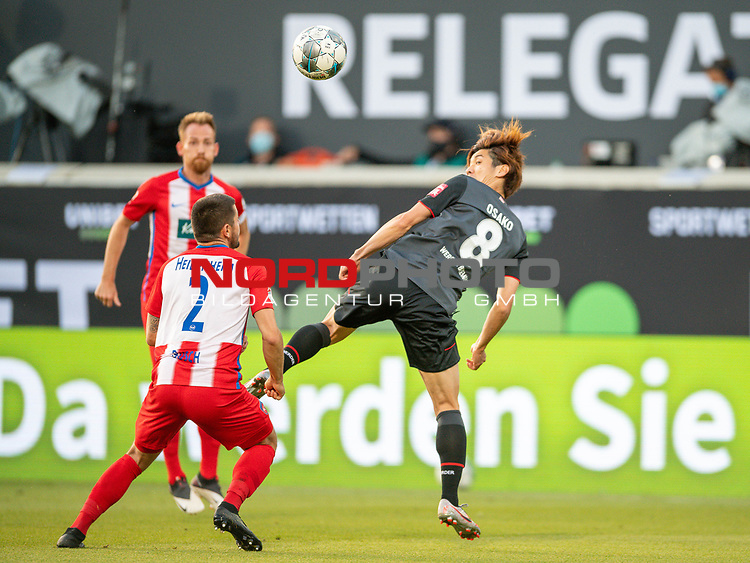 Marnon Busch (FC Heidenheim, #02), Yuya Osako (SV Werder Bremen, #08),<br /> <br /> GER, FC Heidenheim vs. Werder Bremen, Fussball, Bundesliga Religation, 2019/2020, 06.07.2020,<br /> <br /> DFB/DFL regulations prohibit any use of photographs as image sequences and/or quasi-video., <br /> <br /> <br /> Foto: EIBNER/Sascha Walther/Pool/gumzmedia/nordphoto