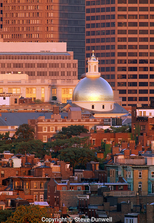 State House dome and Beacon Hill, Boston, MA
