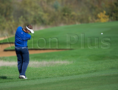 17.10.2014. The London Golf Club, Ash, England. The Volvo World Match Play Golf Championship.  Day 3 group stage matches.  Joost Luiten [NED] second shot sixth hole.
