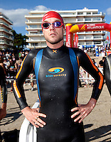 18 SEP 2010 - LA BAULE, FRA - Kris Gemmell (Beauvais Tri) waits for the start of the 2010 Mens French Club Championship Final .(PHOTO (C) NIGEL FARROW)