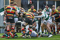 Matt CORNISH of Ealing Trailfinders scores a try during the Championship Cup match between Ealing Trailfinders and Richmond at Castle Bar , West Ealing , England  on 15 December 2018. Photo by David Horn.