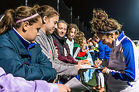 Allston, MA - Saturday, May 07, 2016: Boston Breakers midfielder Angela Salem (26) signs autographs after a regular season National Women's Soccer League (NWSL) match at Jordan Field.