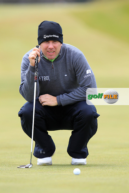 Richie RAMSAY (SCO) lines up his putt on the 1st green during Saturday's Round 3 of the 2015 Dubai Duty Free Irish Open, Royal County Down Golf Club, Newcastle Co Down, Northern Ireland 5/30/2015<br /> Picture Eoin Clarke, www.golffile.ie