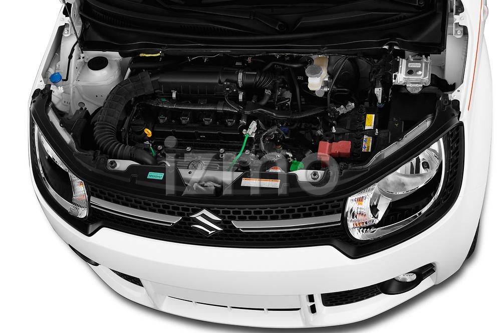 Car Stock 2017 Suzuki Ignis GL 5 Door Hatchback Engine  high angle detail view