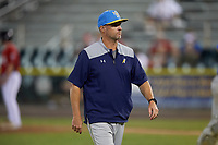 Myrtle Beach Pelicans pitching coach Brian Lawrence (51) during a Carolina League game against the Potomac Nationals on August 14, 2019 at Northwest Federal Field at Pfitzner Stadium in Woodbridge, Virginia.  Potomac defeated Myrtle Beach 7-0.  (Mike Janes/Four Seam Images)