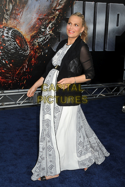 "Molly Sims.""Battleship"" Los Angeles Premiere held at the Nokia Theatre LA Live, Los Angeles, California, USA..May 10th, 2012.full length black blazer white dress pregnant print belt side.CAP/ADM/BP.©Byron Purvis/AdMedia/Capital Pictures."