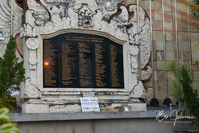 Ground Zero on Jl Legian in Kuta three days after the Paris terrorist attacks on November 13, 2015. <br />