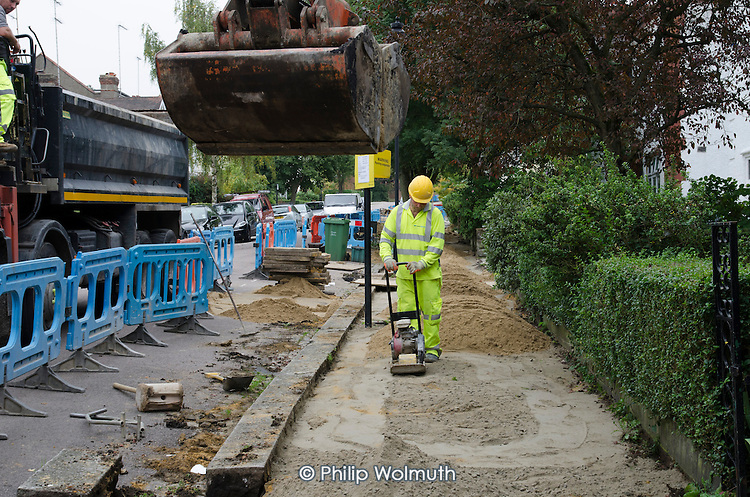 Pavement replacement works by private contractor Volker Highways on behalf of Camden Council.