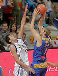 Asefa Estudiantes' Yannick Driesen (r) and Real Madrid's Nikola Mirotic during ACB match.September 30,2010. (ALTERPHOTOS/Acero)