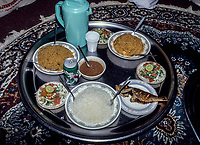 Nizwa, Oman.  Lunch:  Fish with rice, shrimp with rice, white rice and sauce.