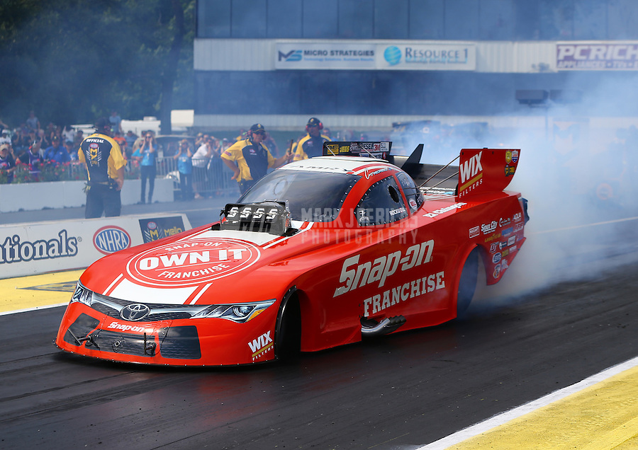 Jun 11, 2016; Englishtown, NJ, USA; NHRA funny car driver Cruz Pedregon during qualifying for the Summernationals at Old Bridge Township Raceway Park. Mandatory Credit: Mark J. Rebilas-USA TODAY Sports