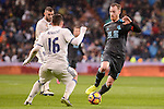 Real Madrid's Mateo Kovacic and Real Sociedad's David Zurutuza during La Liga match between Real Madrid and Real Sociedad at Santiago Bernabeu Stadium in Madrid, Spain. January 29, 2017. (ALTERPHOTOS/BorjaB.Hojas)