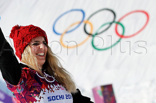 19.02.2014. Sochi, Russia.  Rosa Khutor   Sochi Winter Olympic Wiomens Giant Parallel Slalom Snowboarding.  Patrizia Kummer (SUI) celebrates on the podium