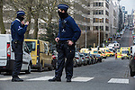 BRUSSELS - BELGIUM - 22 March 2016 -- Bomb attacks in Brussels Maelbeek metro station - EU quarters. -- Ambulances close to the metro station. Police cordoned the whole area of for several blocks. -- PHOTO: Juha ROININEN / EUP-IMAGES