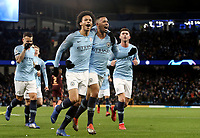Manchester City's Leroy Sane celebrates with team-mate Gabriel Jesus after scoring his side's equalising goal to make the score 1 - 1<br /> <br /> Photographer Rich Linley/CameraSport<br /> <br /> UEFA Champions League Group F - Manchester City v TSG 1899 Hoffenheim - Wednesday 12th December 2018 - The Etihad - Manchester<br />  <br /> World Copyright © 2018 CameraSport. All rights reserved. 43 Linden Ave. Countesthorpe. Leicester. England. LE8 5PG - Tel: +44 (0) 116 277 4147 - admin@camerasport.com - www.camerasport.com