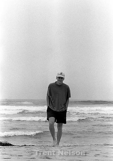 Trent Nelson at beach.<br />
