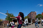 The Kansas City Marching Cobras, including Rodshay McClain, rehearse before their first performance in Brooklyn.