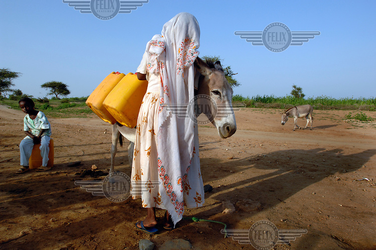 A woman uses a donkey to collect and carry water from a local well. ..