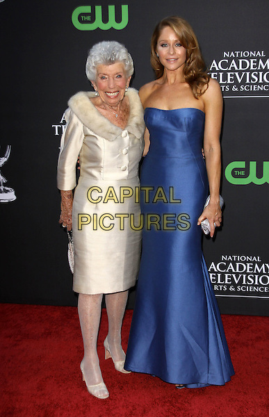 SUSAN & JAMIE LUNER.36th Annual Daytime Emmy Awards held At The Orpheum Theatre, Los Angeles, California, USA..August 30th, 2009.emmys full length white cream silk satin long maxi silk satin dress mother mom mum daughter family strapless .CAP/ADM/KB.©Kevan Brooks/AdMedia/Capital Pictures.