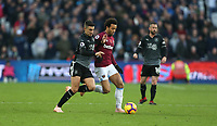 Burnley's Matthew Lowton and West Ham United's Felipe Anderson<br /> <br /> Photographer Rob Newell/CameraSport<br /> <br /> The Premier League - West Ham United v Burnley - Saturday 3rd November 2018 - London Stadium - London<br /> <br /> World Copyright &copy; 2018 CameraSport. All rights reserved. 43 Linden Ave. Countesthorpe. Leicester. England. LE8 5PG - Tel: +44 (0) 116 277 4147 - admin@camerasport.com - www.camerasport.com