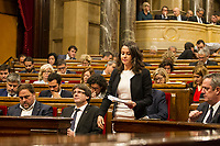 C's party spokeswoman Ines Arrimadas walks to speak after the Catalan president Carles Puigdemont  speech at Catalan Parlament to declare and then postpone the Independence of Catalunya. Catalonia. In Barcelona on October 10, 2017.