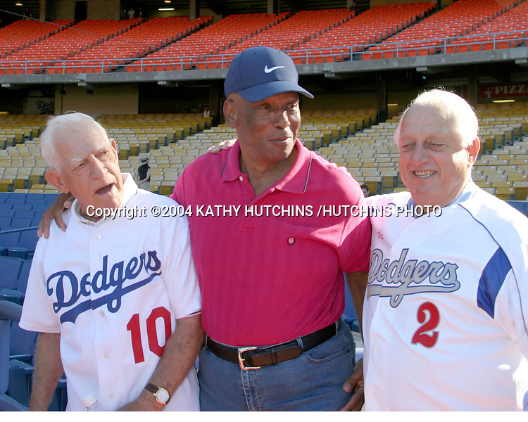 ©2004 KATHY HUTCHINS /HUTCHINS PHOTO.DODGER CELEBRITY SOFTBALL GAME.DODGER STADIUM.LOS ANGELES, CA.AUGUST 7, 2004..SPARKY ANDERSON.ERNIE BANKS.TOMMY LASORDA