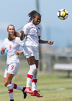 Bradenton, FL - Sunday, June 12, 2018: Jayde Riviere prior to a U-17 Women's Championship 3rd place match between Canada and Haiti at IMG Academy. Canada defeated Haiti 2-1.