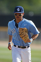 Connor Joe #6 of the University of San Diego Toreros during a game against the Cal State Northridge Matadors at Matador Field on March 26, 2013 in Northridge, California. (Larry Goren/Four Seam Images)